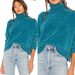 Lovers + Friends Turquoise Cowl Neck Cropped sz L